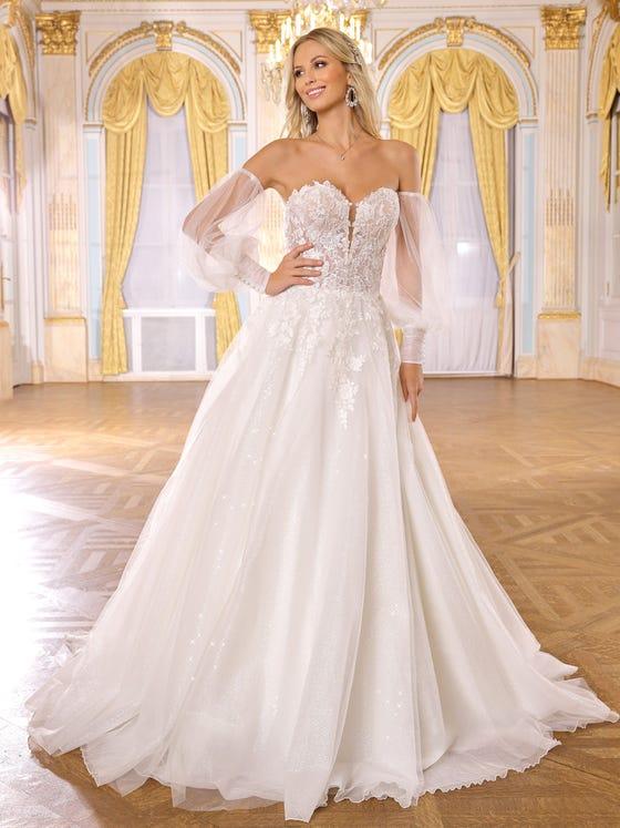 Vestido de novia princesa en tul parte delantera