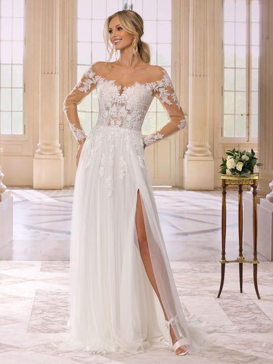 Vestido de novia evasee en tul  parte delantera