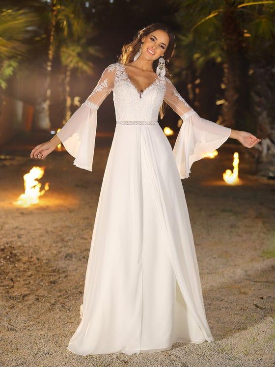 Vestido de novia evasee y con escote de pico en gasa parte delantera