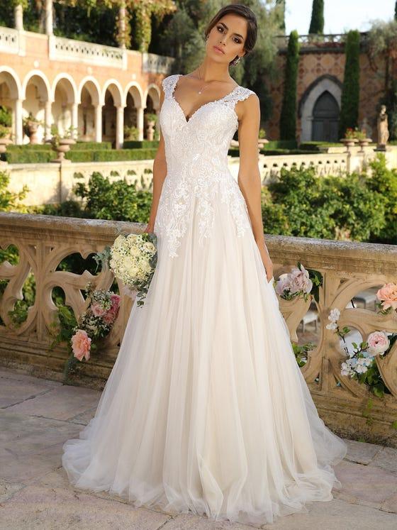 Vestido de novia evasee parte delantera