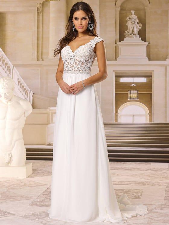 Vestido de novia en gasa y evasee con escote de pico parte delantera