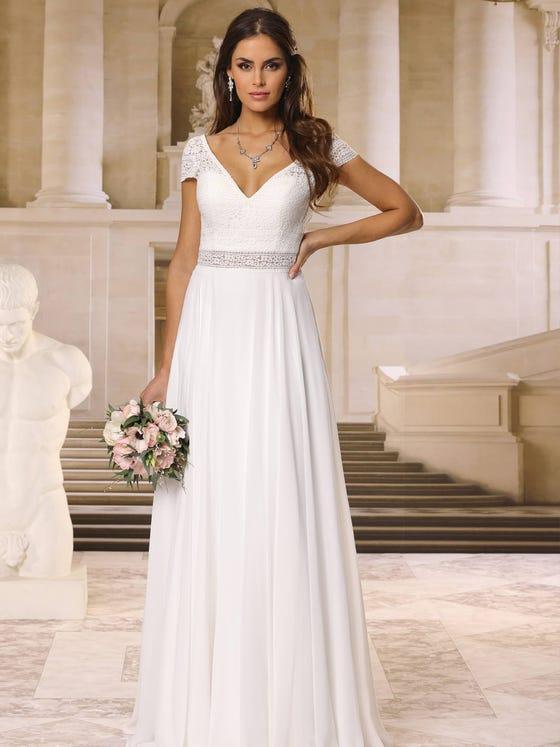 Vestido de novia en gasa y recto con escote de pico parte delantera