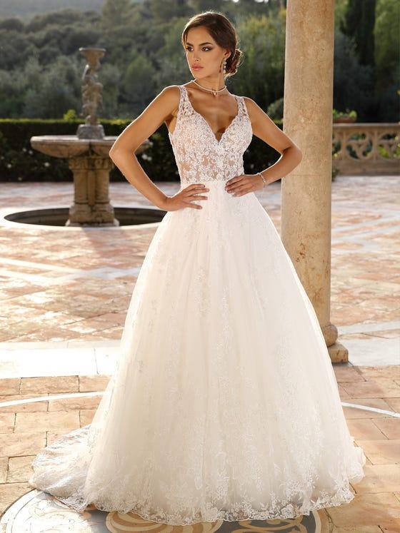 vestido de novia Evasee en tul con escote de pico parte delantera