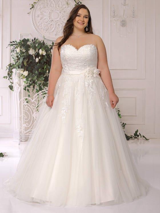 parte delantera vestido novia tul encaje sin mangas corteena escote pico ls422063