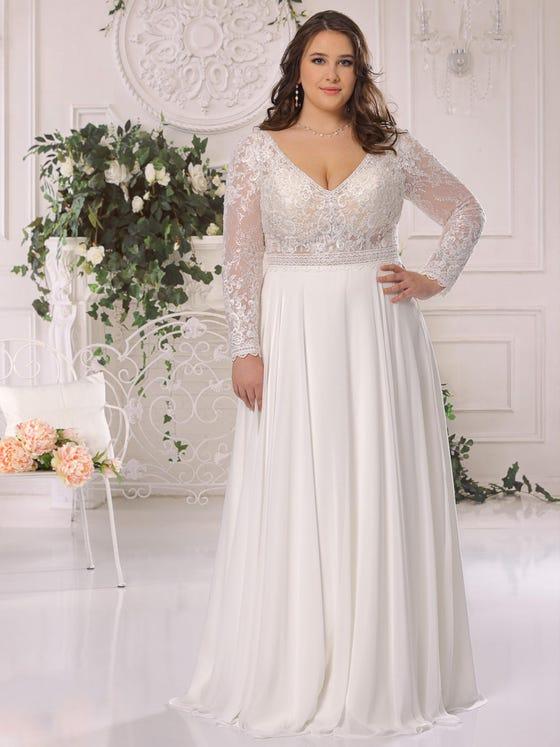 parte delantera vestido novia evasee mangas largas escote pico ls522041